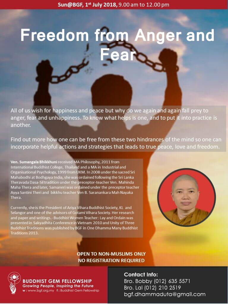 Sun@BGF - Freedom from Fear and Anger Talk by Ven Sumangala poster