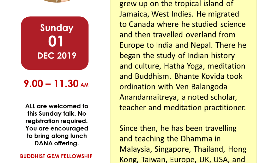 Sun@BGF – Mindfulness and Qigong with Bhante Kovida